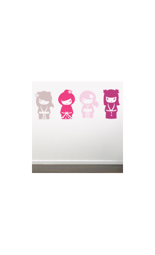 Sticker kokeshi rose flashy vinyz for Stickers kokeshi