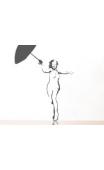 Sticker blonde parapluie