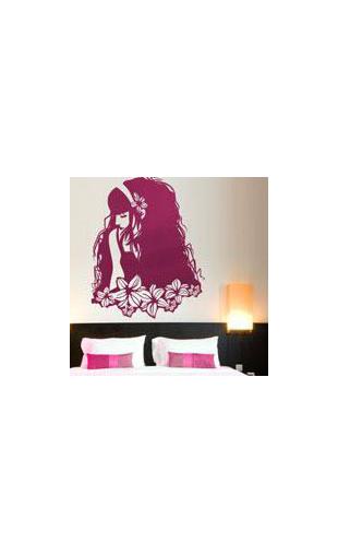 Sticker femme fleur