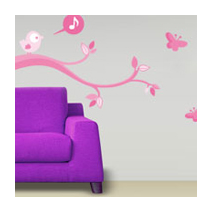 Sticker Oiseau Qui Chante Rose