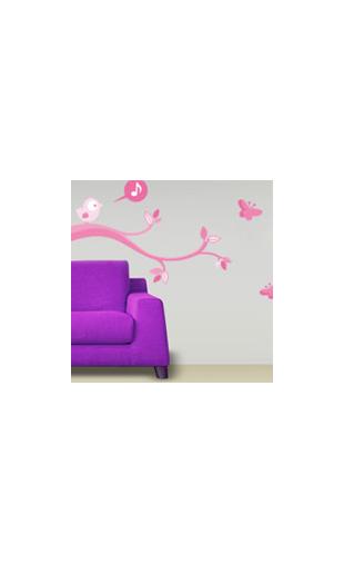Sticker Oiseau Qui Chante Rose