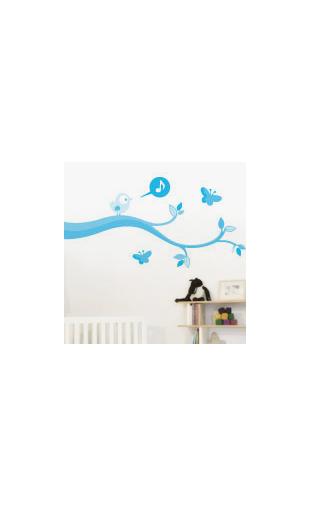 Sticker Oiseau Qui Chante Bleu