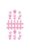 Sticker Pots de Fleurs Rose