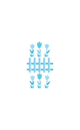 Sticker Pots de Fleurs Bleu