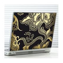 Sticker motif fleuri noir