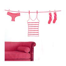 Sticker corde à linge rose