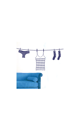 Sticker corde à linge bleu