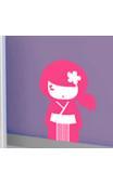 Sticker kokeshi Yumi fushia