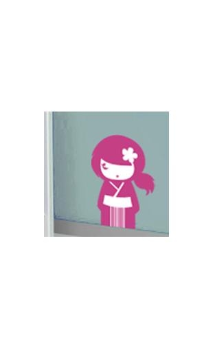 Sticker kokeshi Yumi violet