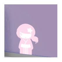 Sticker kokeshi Yumi rose