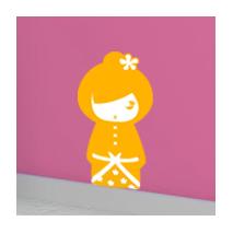 Sticker kokeshi Sakumi orange