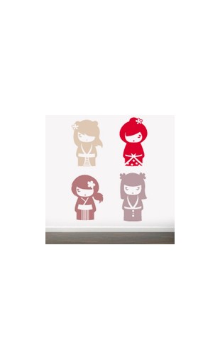 Sticker kokeshi rouge