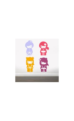 Sticker kokeshi japonais