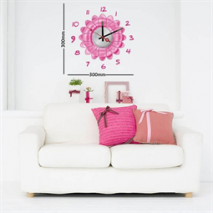 Sticker horloge marguerite rose