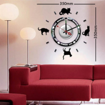 Sticker horloge cat world