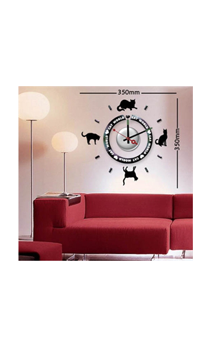 Sticker horloge cat world