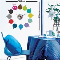Sticker horloge chenille multicolore