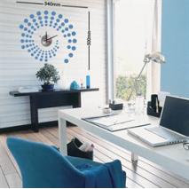 Sticker horloge arabesque bleue