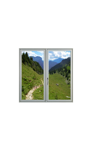 Sticker fenêtre sur montagne