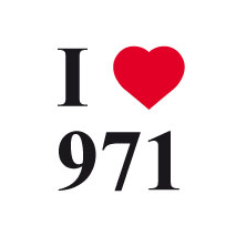 Sticker I love 971 fonds blanc