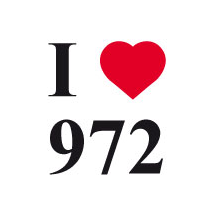 sticker I love 972 fonds blanc