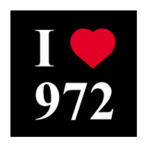 sticker I love 972 fonds noir