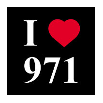 Sticker I love 971 fond noir