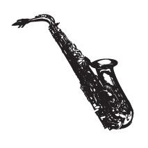Sticker Saxophone Vintage